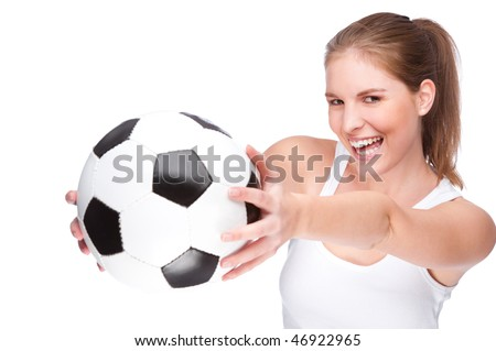 Full isolated studio picture from a young and beautiful woman with football - stock photo