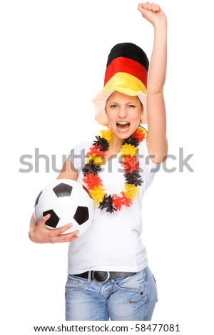 Full isolated studio picture from a young and beautiful woman with football and Germany flag - stock photo