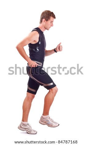 Full isolated studio picture from a young athletic - stock photo