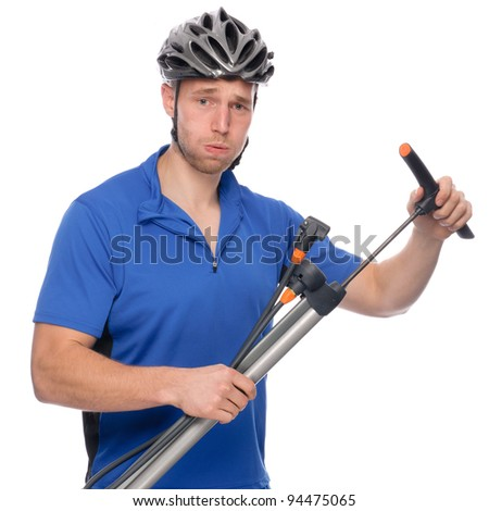 Full isolated studio picture from a young biker - stock photo