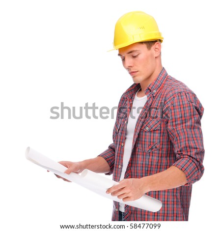 Full isolated studio picture from a young craftsman - stock photo