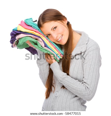 Full isolated studio picture from a young girl with clothes