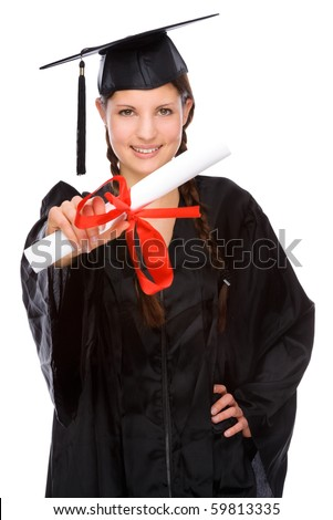 Full isolated studio picture from a young graduation woman