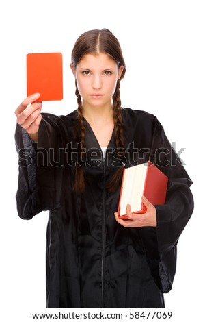 Full isolated studio picture from a young judge (lawyer) with red card