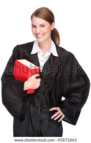 Full isolated studio picture from a young judge (lawyer) with statute book - stock photo