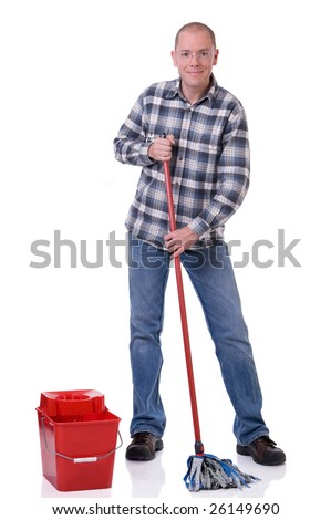 Full isolated studio picture from a young man with a bucket and a cleaning mop - stock photo