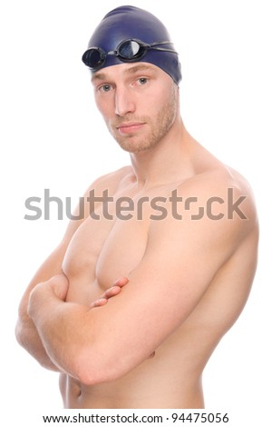 Full isolated studio picture from a young swimmer - stock photo