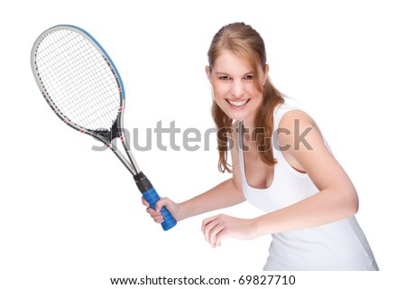 Full isolated studio picture from a young woman with tennis racket