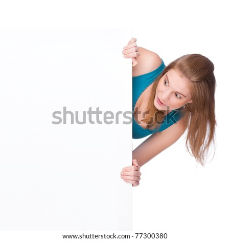 Full isolated studio picture from a young woman with white copyspace sign (banner)