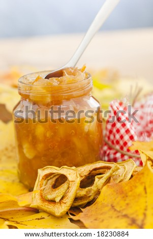 Full jar of apple jam on the leaves - stock photo