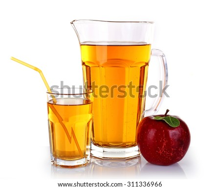 Full jug and glass of apple juice with fruit isolated on white - stock photo