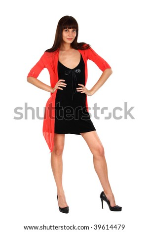 full lenght portrait of a young beautiful model posing on white - stock photo