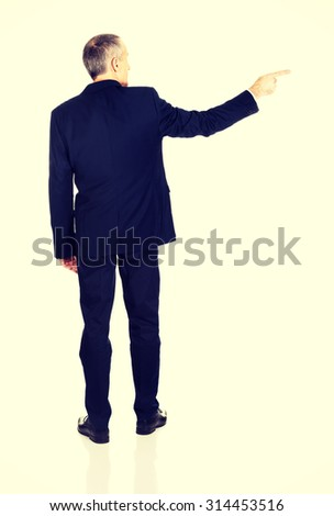 Full length back view businessman pointing right. - stock photo