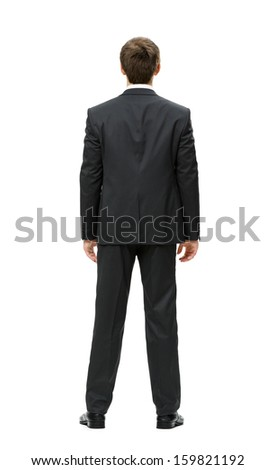 Full-length backview of businessman, isolated on white. Concept of leadership and success - stock photo