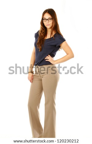 full length beautiful young professional woman isolated on white - stock photo