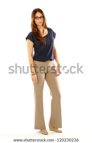 full length beautiful young woman isolated on white - stock photo