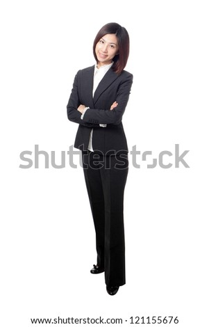 Full length Business woman confident smile standing and cross her arms isolated on white background, model is a asian beauty - stock photo