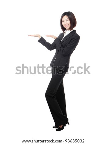 Full length Business woman introducing something by hand isolated on white background, model is a asian beauty - stock photo