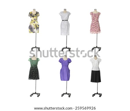full-length evening gown clothing on six mannequin isolated - stock photo