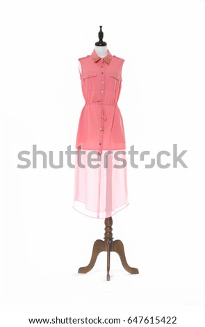 full-length female evening dress on a dummy isolated