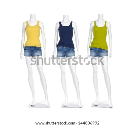 Full length female mannequin colorful t-shirt dressed in short jeans - stock photo