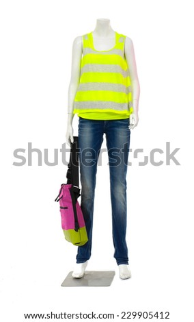 Full length female mannequin striped shirt dressed in jeans isolated on white background  - stock photo