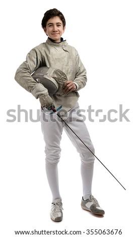 Full Length Fencer - stock photo