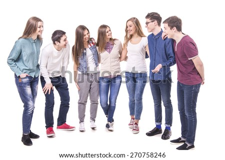 Full length. Happy  smiling young group communicates. isolated on white background. - stock photo