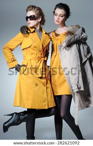 full-length high young stylish two model in coat dress posing in the studio - stock photo