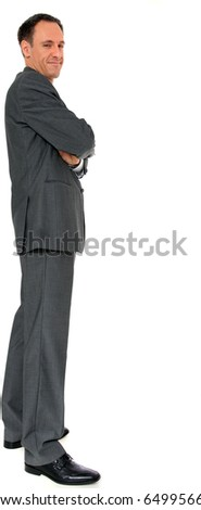 Full length image of a businessman. All on white background. - stock photo
