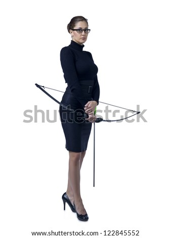 Full length image of a businesswoman holding a crossbow - stock photo