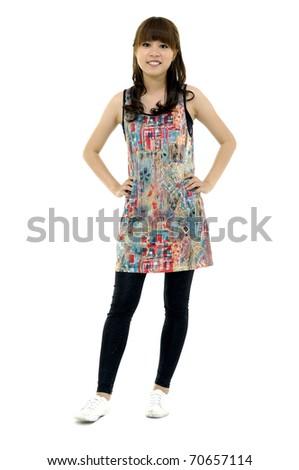 Full length image of a cute smiling asian woman posing - stock photo