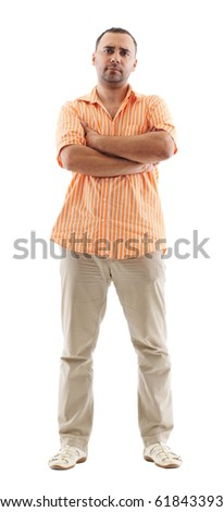 Full length image of a young man standing isolated against white - stock photo