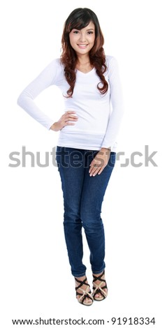 Full length image of an attractive young girl posing over white background - stock photo