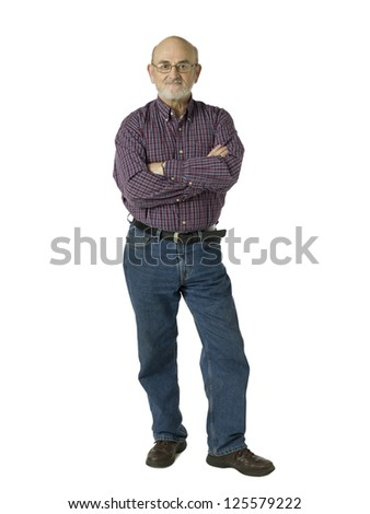 Full length image of an old man standing over a white background - stock photo