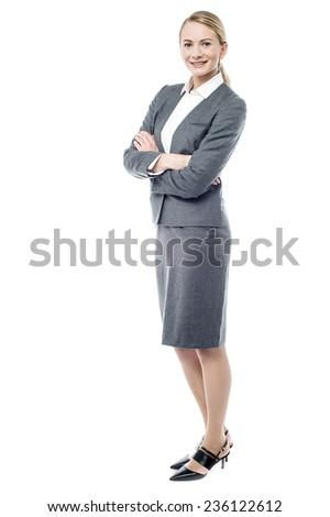 Full length image of confident young business woman - stock photo