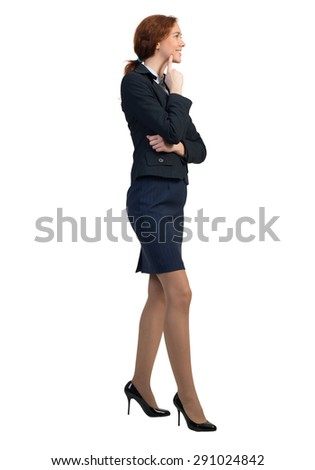 Full length image of thoughtful young businesswoman on white background - stock photo