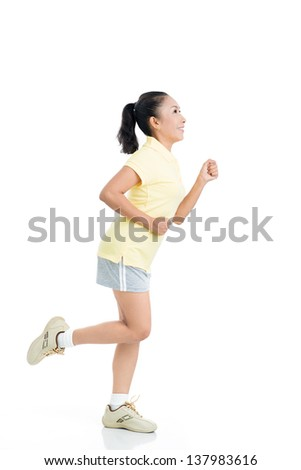 Full-length isolated image of a running senior woman with a positive smile - stock photo