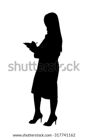 Full length isolated profile of a pretty female Asian doctor with white lab coat, stethoscope smiling and writing notes in blue clipboard with her head slightly turned expressing warmth and empathy - stock photo