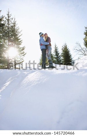 Full length low angle view of a loving couple standing on snow covered hill - stock photo