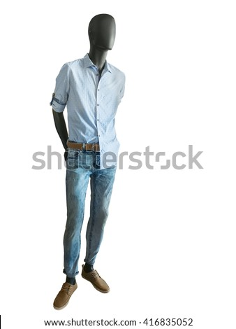 Full length male mannequin dressed in checkered shirts and jeans on white background. No brand names or copyright objects. - stock photo