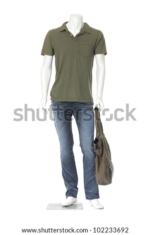 Full length male mannequin dressed in jeans with bag