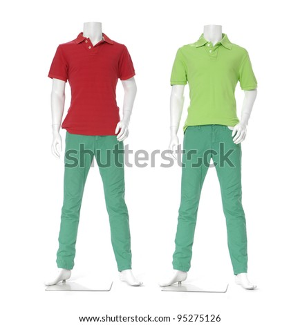Full length male mannequin dressed in t-color shirt in green plant ,isolated