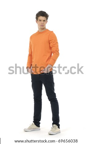 Full length mature casual man full body