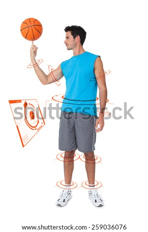 Full length of a basketball player with ball against fitness interface - stock photo