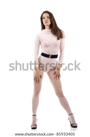 Full length of a beautiful woman dancer posing isolated over white background