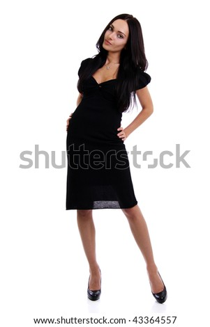Full length of a beautiful young lady in  dress standing against isolated white background - stock photo