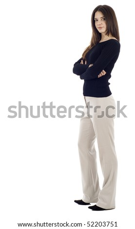 Full length of a business woman isolated over white background - stock photo