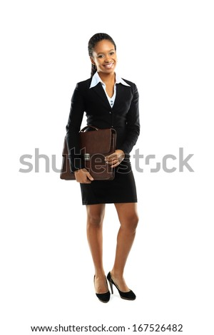 Full length of a cheerful young american business woman posing over white background  - stock photo