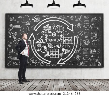 Full length of a confident handsome man who presents some business plan on the black chalkboard.  - stock photo